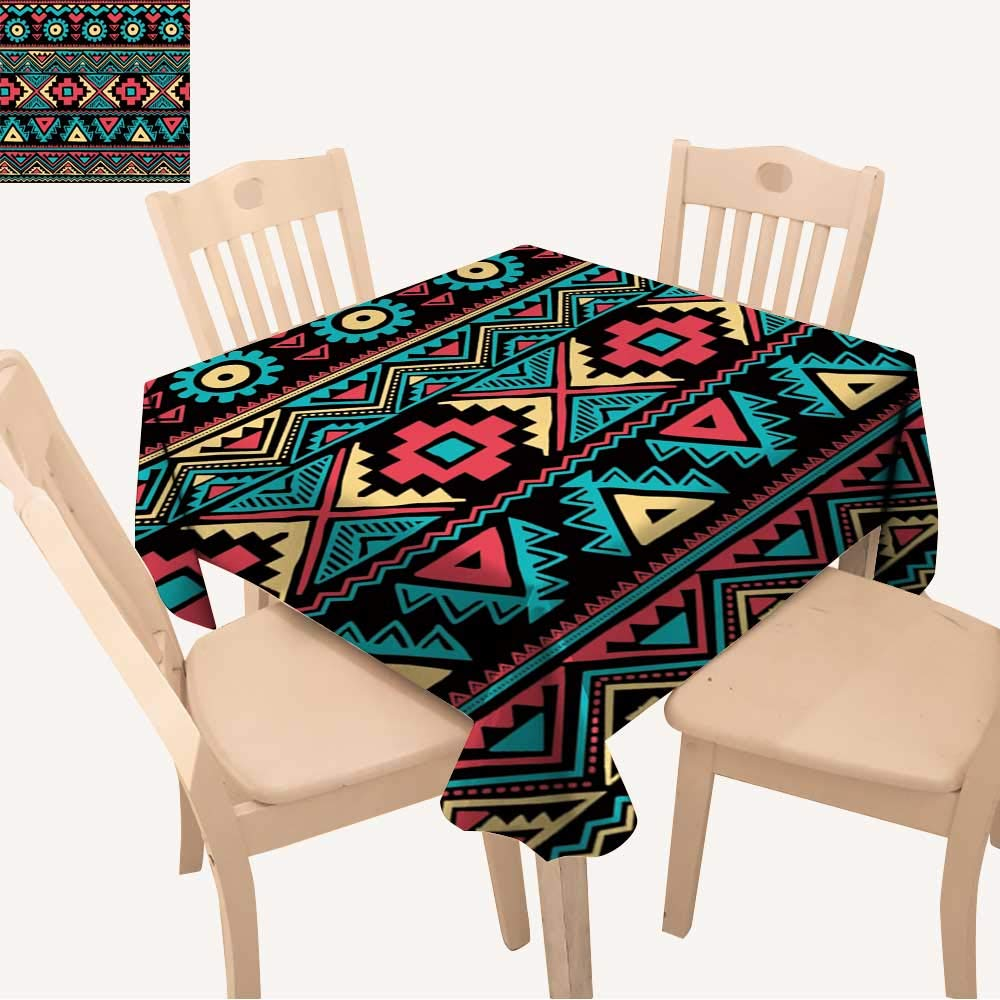 UHOO2018 Polyester Tablecloth Tribal Vintage Ethnic Seamless for Your Business Square/Rectangle Spillproof Tablecloth,50x 50inch