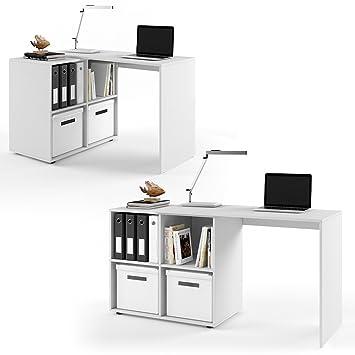 Schreibtisch weiß mit regal  Regal-Kombination 90°-180° winkelbar Weiß - Schreibtisch ...