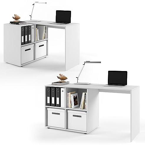 Büro eckschreibtisch weiß  VICCO Regal-Kombination 90°-180° winkelbar weiß sonoma eiche ...