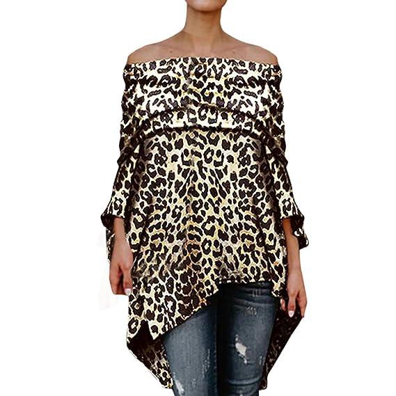 ... Cuello en Pico y Leopardo Sexy, Mujeres con Hombros Descubiertos, Leopardo, Camisetas asimétricas con Manga Larga Blusa: Amazon.es: Ropa y accesorios