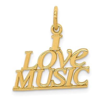 Amazon Fb Jewels 14k Yellow Gold I Love Music Charm Jewelry