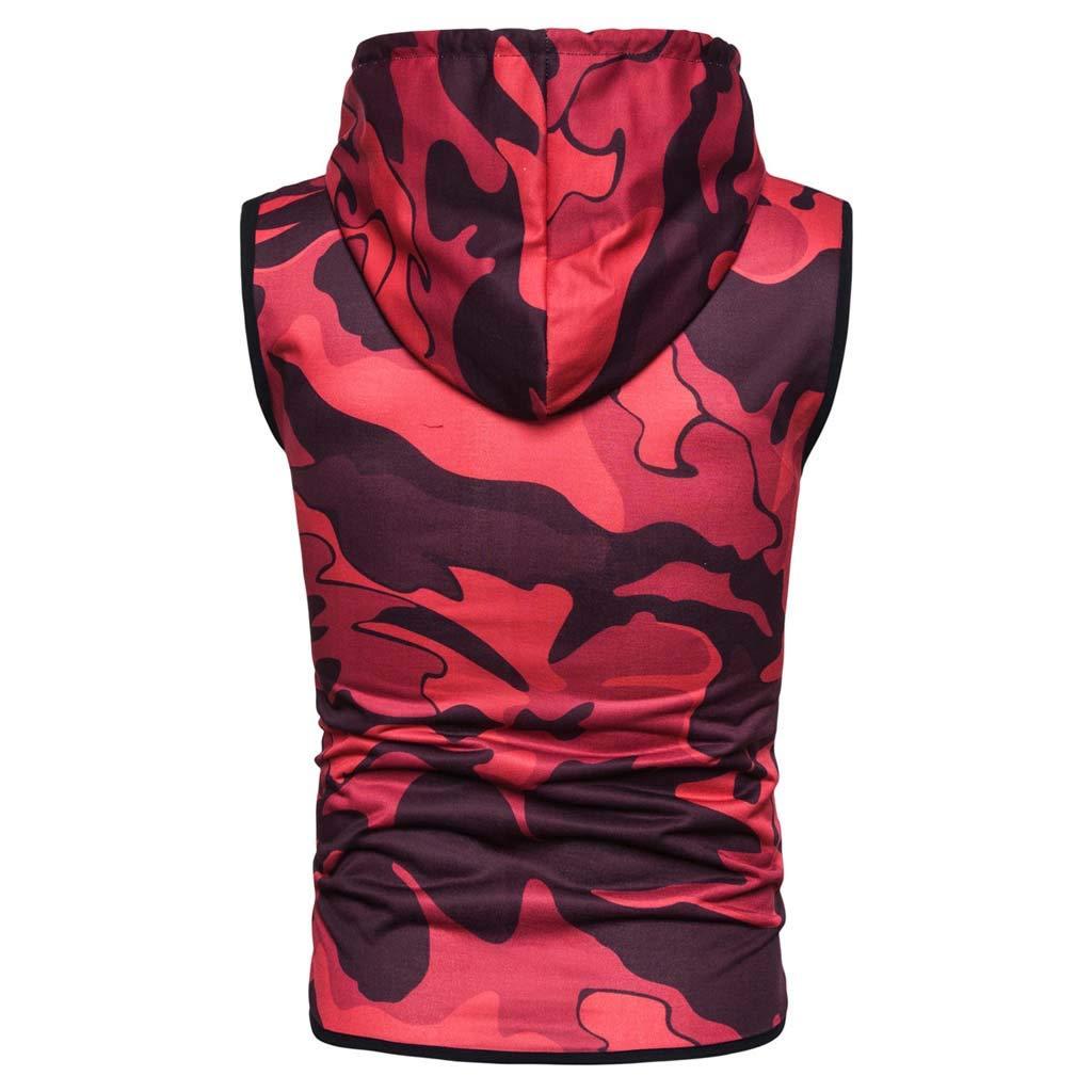 2d2c42ea1 Gym Hoodie Men Bodybuilding Stringer Tank Top Camouflage Sleeveless Shirt  Full Zipper at Amazon Men's Clothing store: