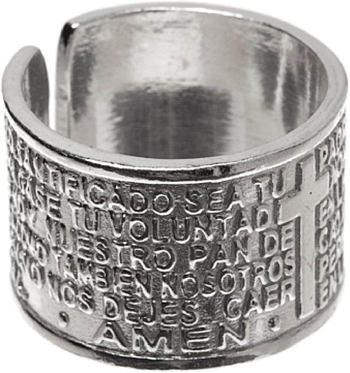 Córdoba Jewels | Anillo en Plata de Ley 925. Diseño Padre Nuestro: Amazon.es: Joyería