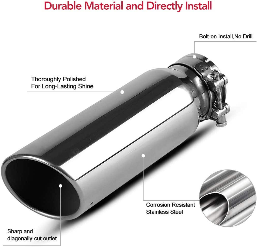3 Inlet Exhaust Tip,Vonegrok Universal 3 Inlet 4 Outlet 12 Long Mirror Polished Clamp On Truck Car Exhaust Tailpipe Tip,Silver
