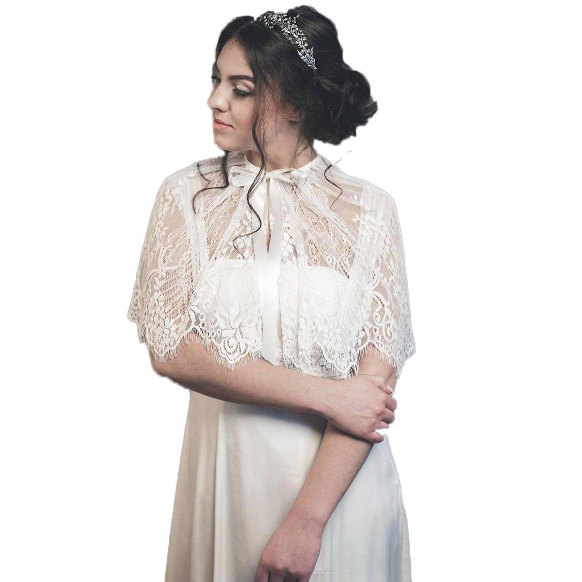 RMDress Bridal Lace Shawls Wedding Wraps Bohemian Elegant Bridesmaid Jacket (Ivory, Formal)