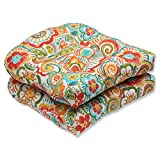 Pillow Perfect Outdoor Bronwood Carnival Wicker Seat Cushion, Multicolored, Set of 2