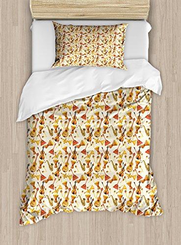 Ensemble Quilt Sham Decorative Pillow (Ambesonne Jazz Music Duvet Cover Set Twin Size, Pattern with Horn Drum Guitar and Fiddlestick Folk Music Ensemble Instruments, Decorative 2 Piece Bedding Set with 1 Pillow Sham, Multicolor)