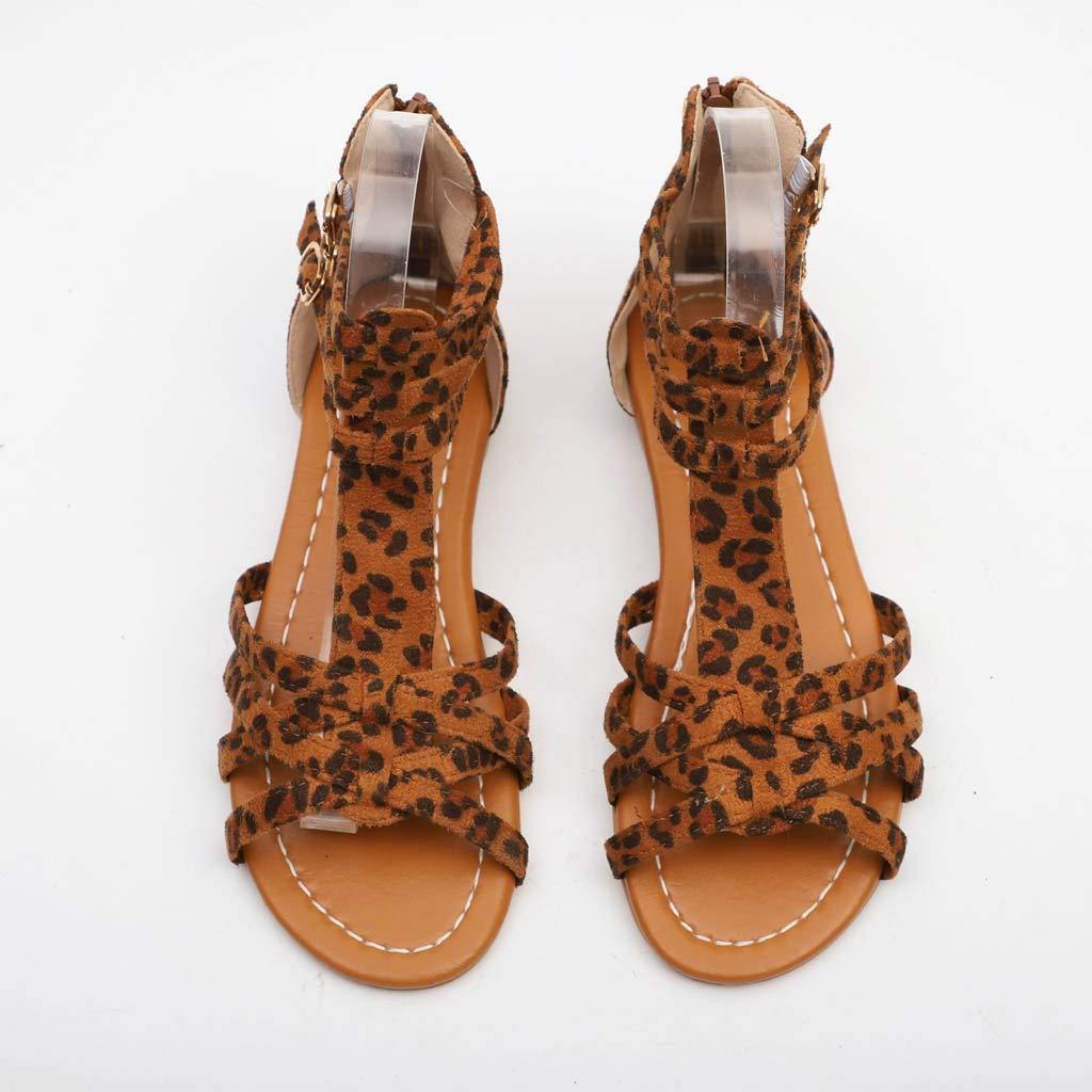 Amazon.com   OrchidAmor Women Summer Fashion Sandals Buckle Strap Flat Leopard Retro Peep Toe Sandals   Flats