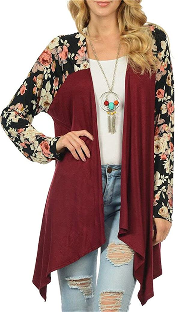 SYTX Women Front Open Long Sleeve Floral Print Stitching Jacket Cardigan