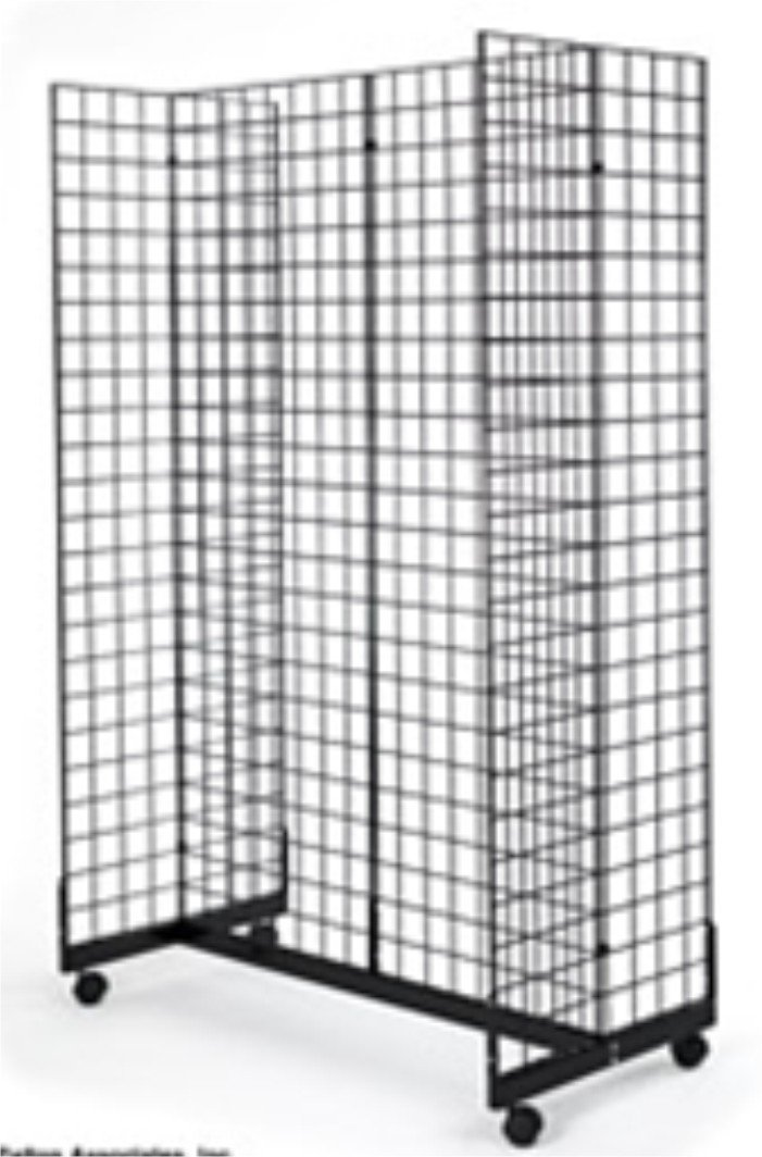 2'x6' Fot Wire Grid Panel 4-Sided Rolling Display 4-Way Tower with Gondola Base