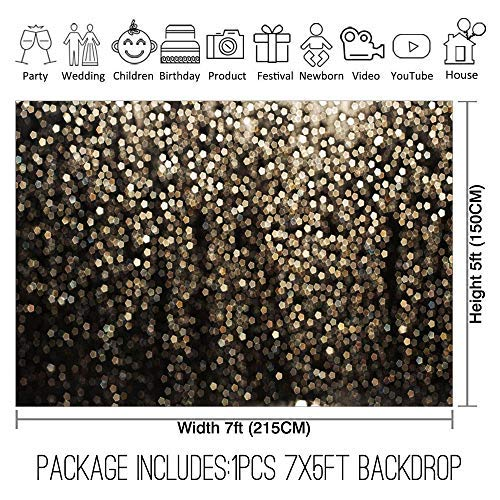 Allenjoy 7x5ft Gold Bokeh Spots Backdrop for Selfie Birthday Party Pictures Photo Booth Shoot Graduation Prom Dance Decor Wedding Vintage Astract Glitter Dot Studio Props Photography Background by Allenjoy (Image #2)