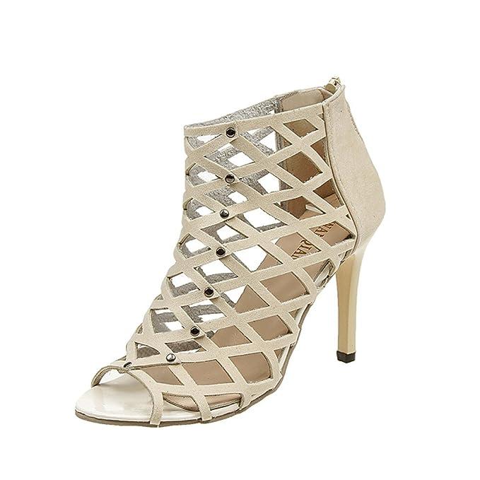 BaZhaHei Sandalias de Mujer Peep Toe Zapatos de Tacones Altos Remache Romana  Sandalias de Gladiador La ca057b6a950c