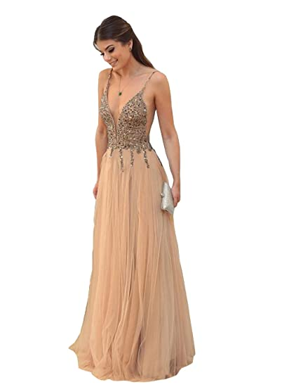 6a1a481dc69 Banfvting Sparkly Beads Sequins Long Prom Dresses Backless Straps Champagne  at Amazon Women s Clothing store