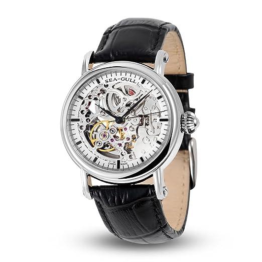 Leisure - Reloj mecánico automático de piel auténtica resistente al agua con reloj digital Roma Business para diversas ocasiones M182sk, aguja negra: ...