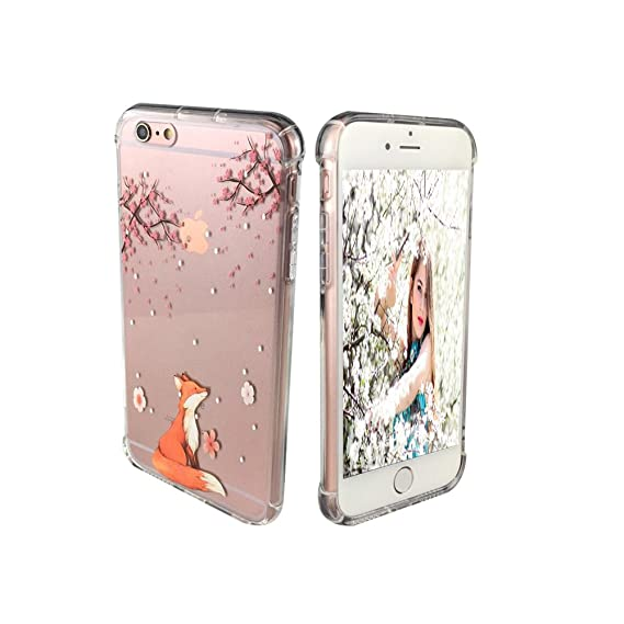 timeless design 9d047 4e357 iPhone 6 Plus Case for Girls, Ftonglogy [Pattern Design] Cute Cherry  Blossoms Fox Clear Slim Fit Flexible TPU Gel [Nice Grip] Back Protective  Cover ...