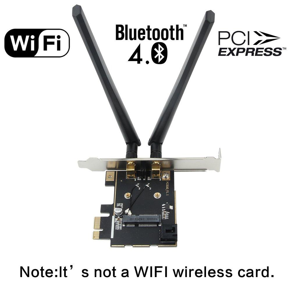 Fenvi Wireless Network Mini PCI-E Card to Desktop PCI-E Adapter Converter + Low Profile + Bluetooth Cable Compact Intel 7260 6300 6250 3160 Broadcom Atheros Half Size Wireless Card