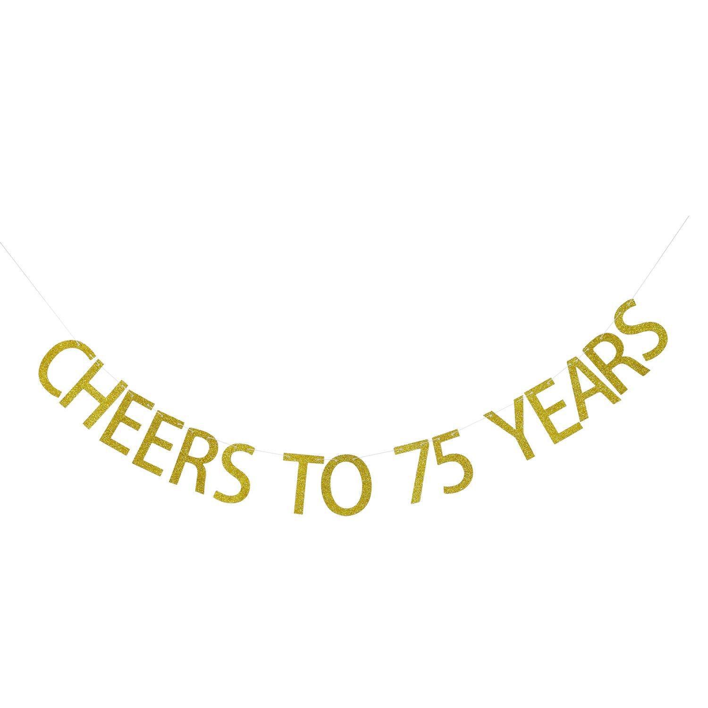 Amazon Gold Glitter Cheers To 75 Years Banner