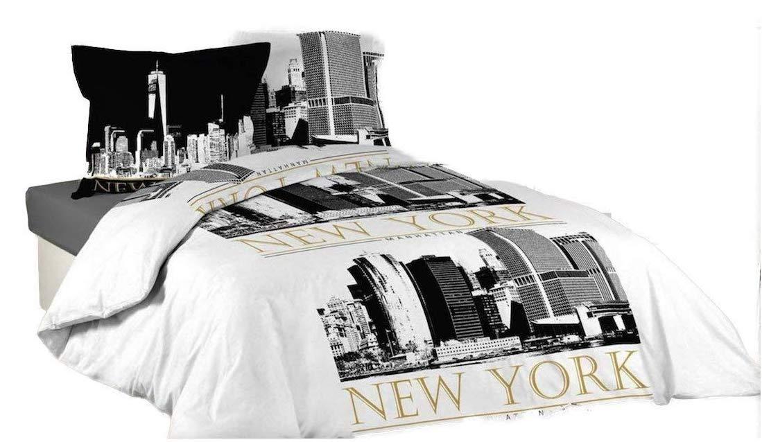 Housse De Couette New York 2 Taies 100 Coton 220 X 240 Cm New