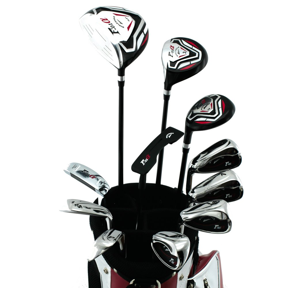 WORLD GOLF(ワールドゴルフ) ワールドイーグル WE-F-F-01α メンズクラブセット【左用-R】+【ホワイトレッド】WE-F-F-01α スタンドバッグ     フレックス:R B00OBDXIW4