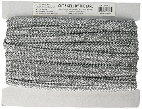 Expo International Alice Classic Woven Braid Trim, 20-Yard, Metallic Silver