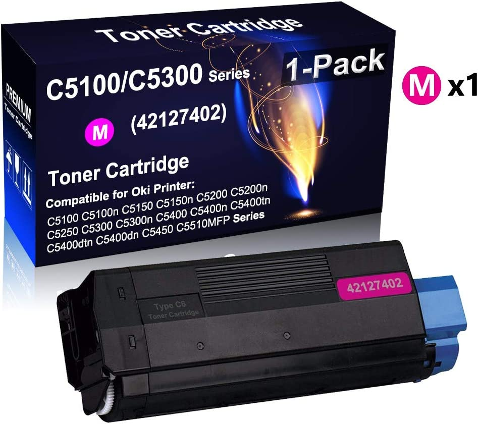 Compatible Color Toner Cartridge Replacement for Qki Okidata Type C6 42127402 Toner Cartridge use for Qki Okidata C5100 C5150 C5200 C5300 C5400 Printer High Yield 1-Pack Magenta