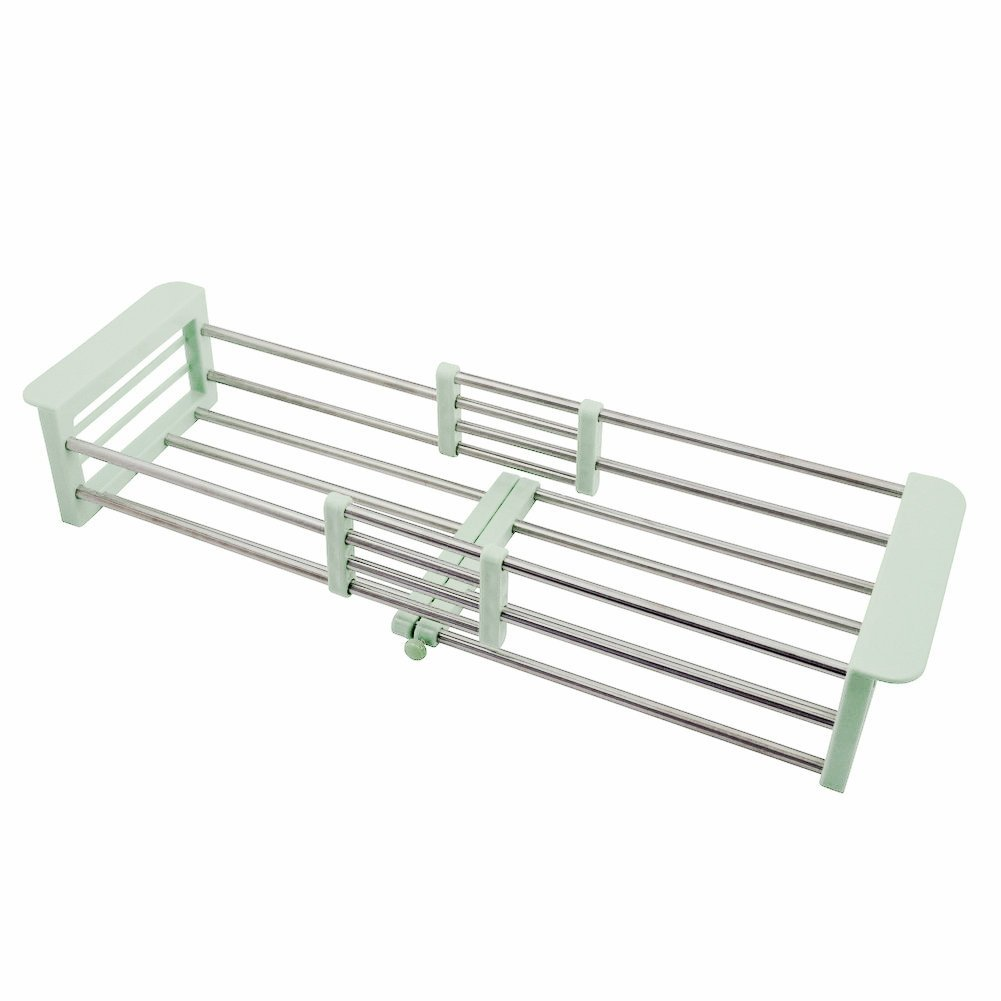 simpletome Sink Drying Rack Extendable Stainless Steel Cups Dish Drainer (White)