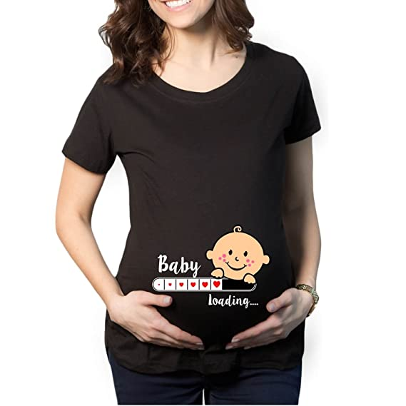 25f5ea568a YaYa Cafe Mothers Day Cute Funny Baby Loading Women's Pregnancy Maternity T- shirt Top Tee Round Neck Half Sleeves: Amazon.in: Clothing & Accessories