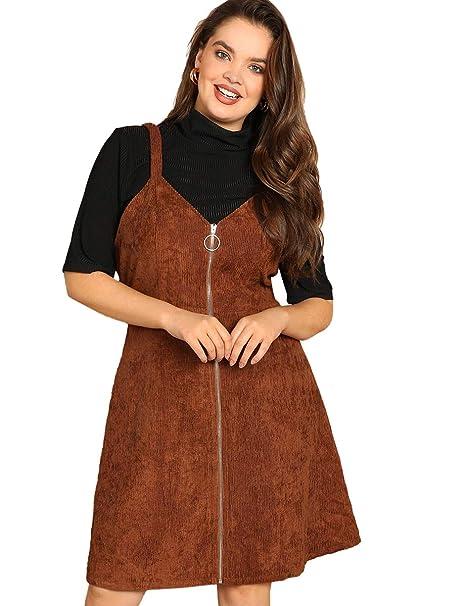 Romwe Women\'s Plus Size Straps A-line Zipper Up Corduroy Pinafore Bib  Overall Dress