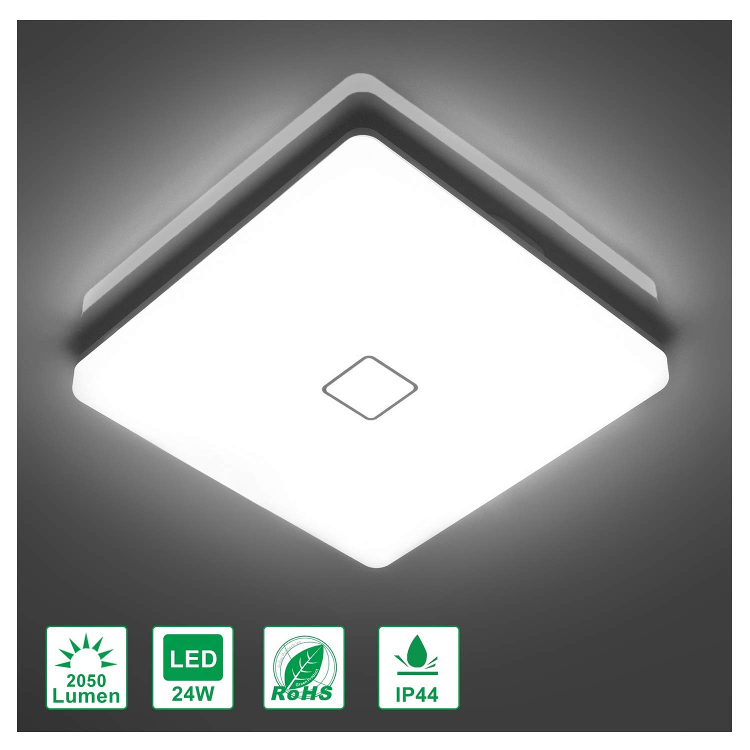 Airand 5000K LED Ceiling Light Flush Mount 24W 12.6 inch Square LED Ceiling Lamp with 240Pcs LED Chips Without Flicker, 2050 Lumens, IP44, 80Ra+, 180W Equivalent (Daylight White)