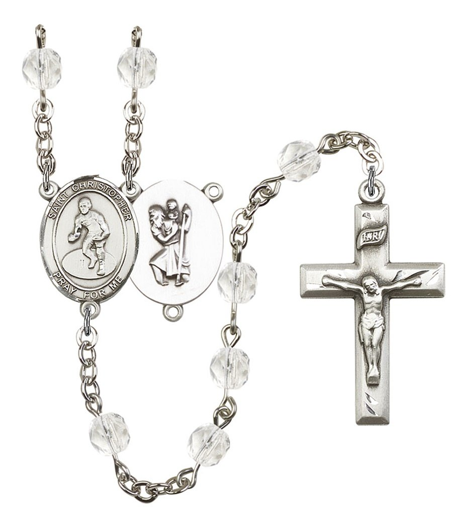 April Birth Month Prayer Bead Rosary with Saint Christopher Wrestling Centerpiece, 19 Inch by Birth Month Rosary