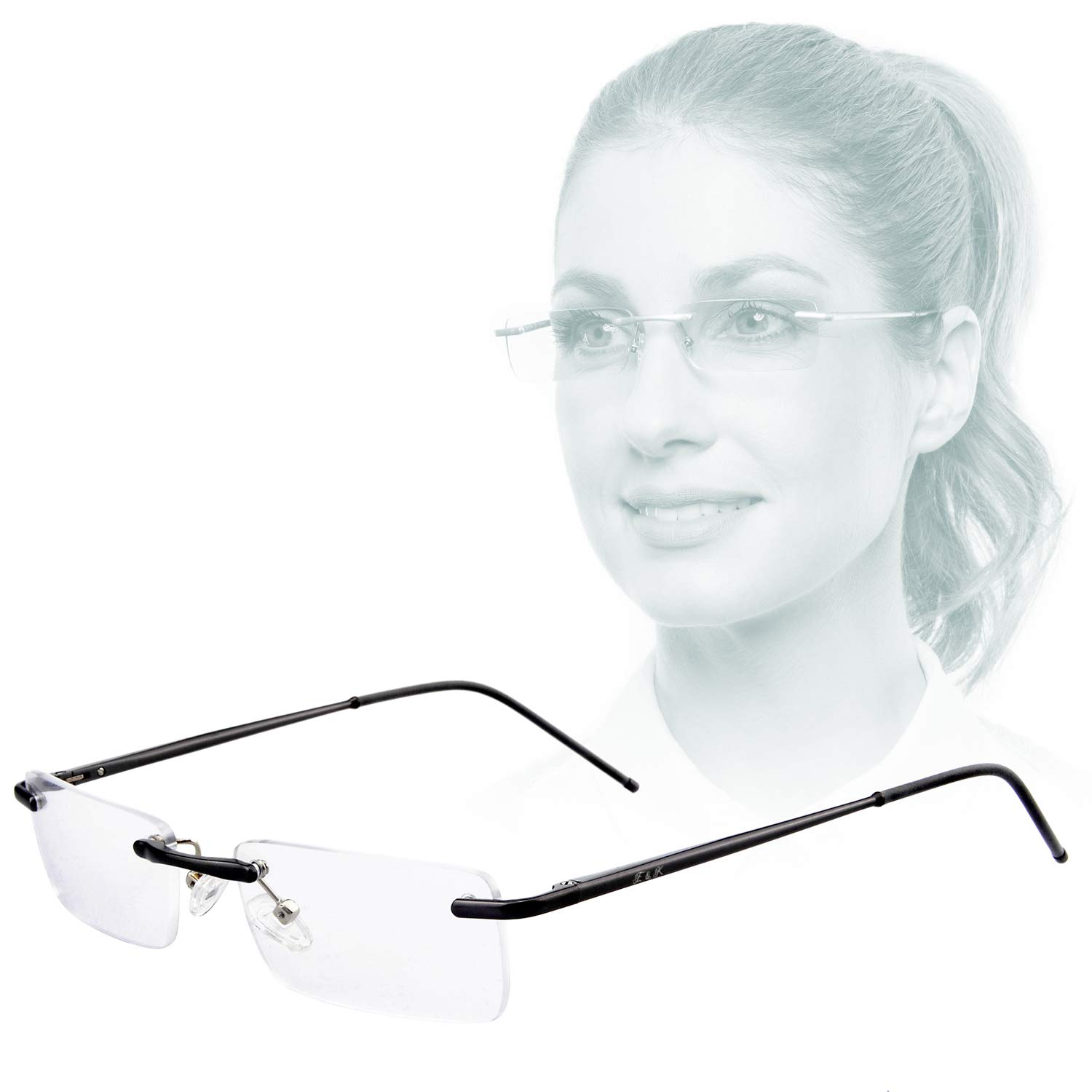 Edison & King Clarity Rimless Reading Glasses - an Elegant Accessory with Premium Lenses Including Blue Light Filter (+2.50 dpt, Black) by Edison & King
