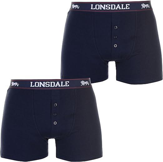 TALLA XS. Hombre Pack 2 Cintura Elástica Mezcla Algodón Calzoncillos Bóxers Lonsdale