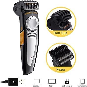 Kit de afeitadora de pelo, recargable por USB y sin cable, con ...