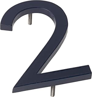 """product image for Montague Metal Products MHN-6-F-NY1-2 Solid Brushed Aluminum Modern Floating Address House Numbers, 6"""", Powder Coated Navy"""