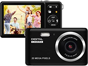 "HD Digital Camera, Rechargeable Mini Digital Camera Camera with 2.8"" LCD/20MP/8X Digital Zoom Video Camera Kids Students Cameras,Indoor Outdoor for Adult Seniors Kids(Black)"