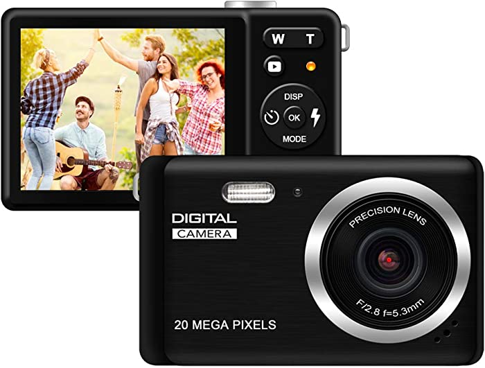 """HD Digital Camera, Rechargeable Mini Digital Camera Camera with 2.8"""" LCD/20MP/8X Digital Zoom Video Camera Kids Students Cameras,Indoor Outdoor for Adult Seniors Kids(Black)"""