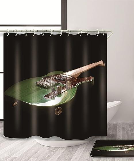 Guitarra eléctrica música cortina de ducha con cortina de ducha 3D Creative Moldproof impermeable cortina de