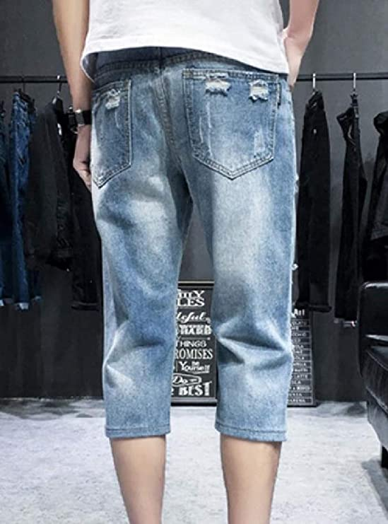 Andopa Mens Straight Leg Relaxed-Fit Broken Hole Jeans Denim Pants
