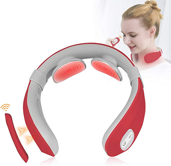 CRELIVER-Neck Massager for Pain Relief, Portable Cordless Smart Neck Massage, 6 Pulse Mode 15 Level Intensities at Home Office Outdoor Travel, Gifts for Festive Present (Red)