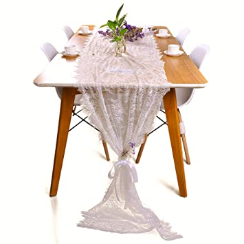 Amazon Y Step White Classy Lace Table Runner Overlay With Rose