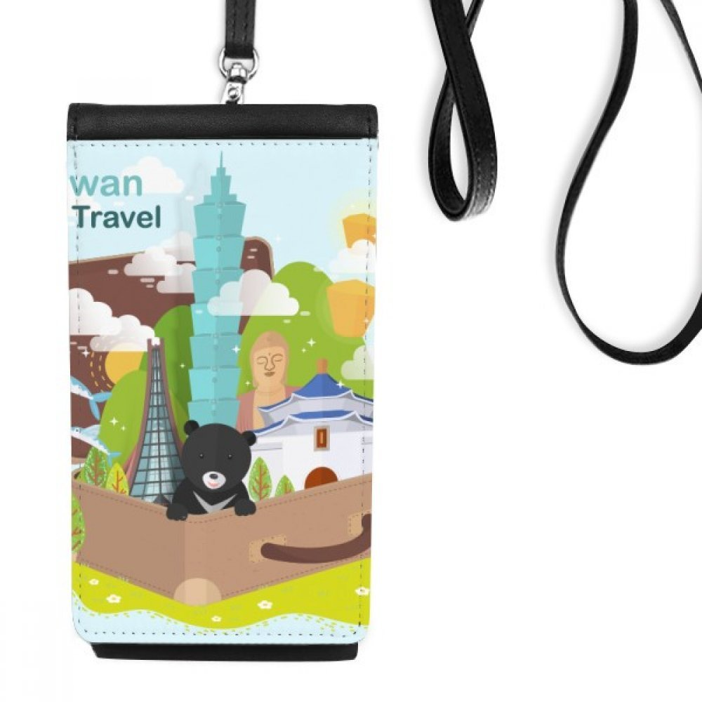 Taiwan Travel 101 Building China Faux Leather Smartphone Hanging Purse Black Phone Wallet Gift