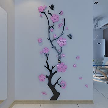 Alicemall Purple Wall Sticker Stunning Light Purple Plum Flower 3D Wall  Stickers Butterfly Flying Black Tree Part 88