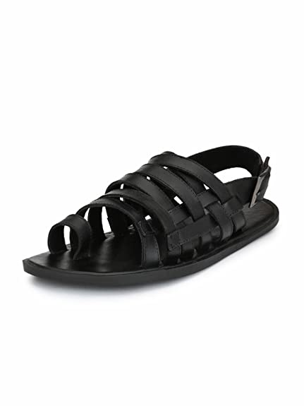 35380dd64 Guava Men Anti-Sweat Leather Sandals - Black  Buy Online at Low Prices in  India - Amazon.in