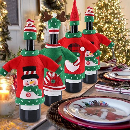 (Christmas Wine Cover Sweater Ugly Wine Cover Santa, Reindeer And Snowman Red Wine Bottle Cover for Christmas and new year Party Decoration(3Pcs))