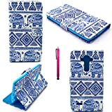 LG G4 Case, JCmax Compact Fashion Style Ultra Slim High Quality Leather [Wallet Design] [Non-Slip] Lightweight Fitted Skin For LG G4 (Free Gifts: 1x Stylus)-BLUe Elephant