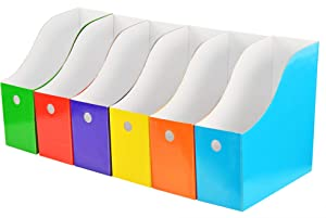 """HOME-X Magazine File Boxes, Book Holders, and Office Organizer Boxes, 10"""" L x 9 ½"""" w x 3 ¾"""" H, Set of 6"""