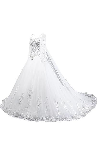 ivyd ressing Mujer lamg aermel piedras Punta applikation croma Vestidos de Boda Vestidos de novia blanco