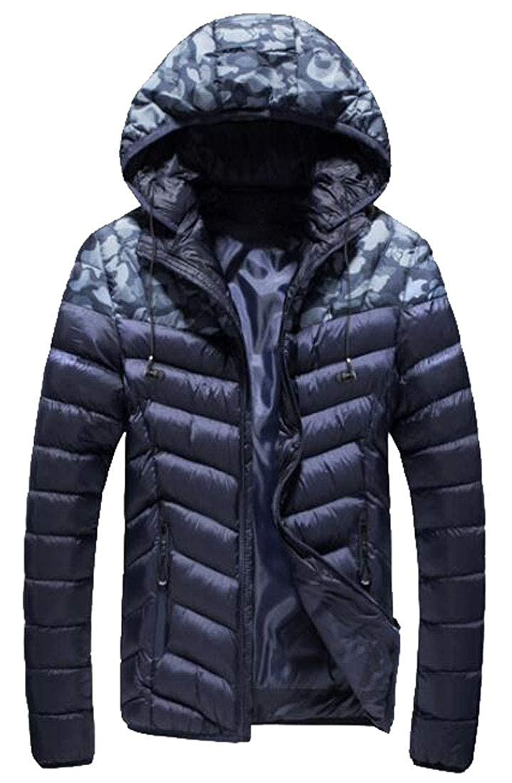 XiaoTianXinMen XTX Mens Stand Collar Hooded Thicken Camo Down Quilted Coat Jacket Outwear