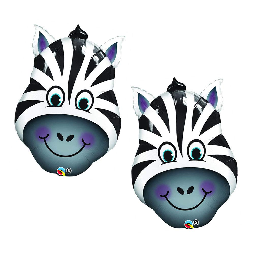 Set of 2 Smiling Zebra Head Exotic Zoo Animal Jumbo 32'' Foil Party Balloons