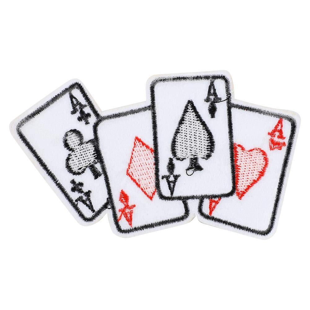 HEEPDD 5pcs Poker Ace Clothes Patch Iron-On Poker Card Emblem Embroidered Appliques Iron-on Patches Playing Card Applique DIY T-Shirt Fabric Sticker